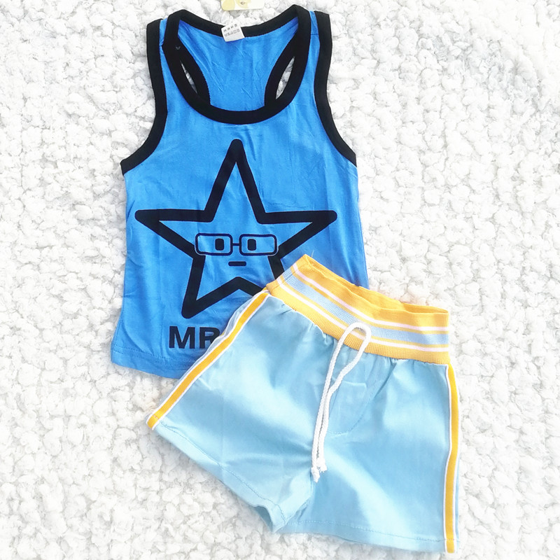 Summer Toddler Clothes Baby Boy 2 Pcs Set Kids Boys Girls  Vest Cotton Sleeveless T Shirts Suits T Shirts Tops + Shorts1-5 Years