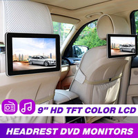 9 Inch Car HD Headrest Audio Monitor TFT Color LCD Display Digital Screen AV Input Radio Support Backup Camera DVD Player