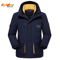 Men's Winter Fleece Thick Jacket 2 in 1 Warm Coat Outwear Cotton Liner Removable Down Parka Waterproof Windbreaker Plus Size 6XL