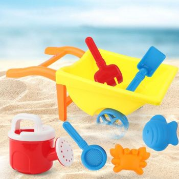 7Pcs New Wheelbarrow Beach Toys for Kids Summer Sand Toys for Building Sand Castles Molds 1set sand mold toys castle clay mold building model beach toys for kids child baby r9ue