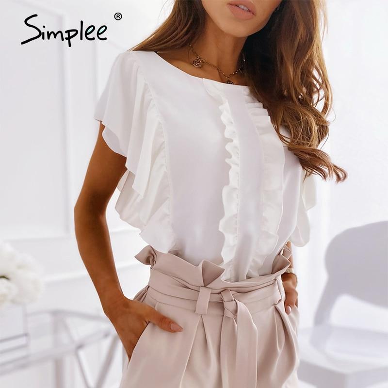 Simplee Elegant Ruffled O-neck Women Blouse Shirt Summer Short Sleeve Solid Female Top Blouse Casual Streetwear Ladies Top Shirt