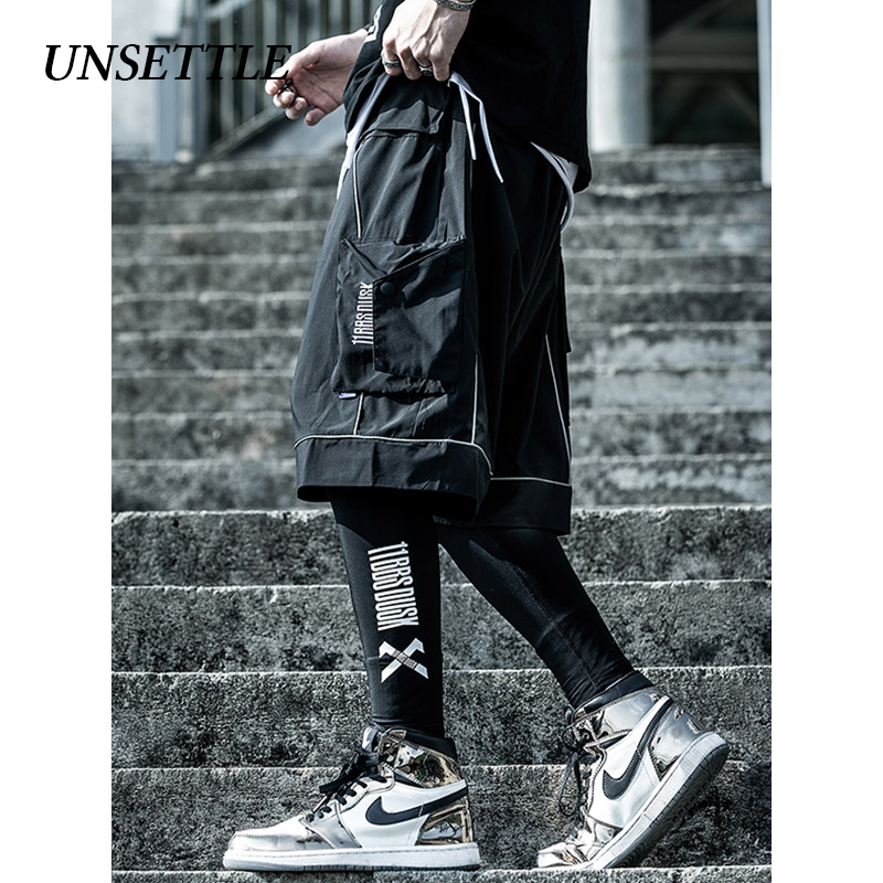 UNSETTLE Men Hip Hop Short Joggers Streetwear Harajuku Cargo Shorts Pockets Summer Tatical Military Short Reflective Sweatpants