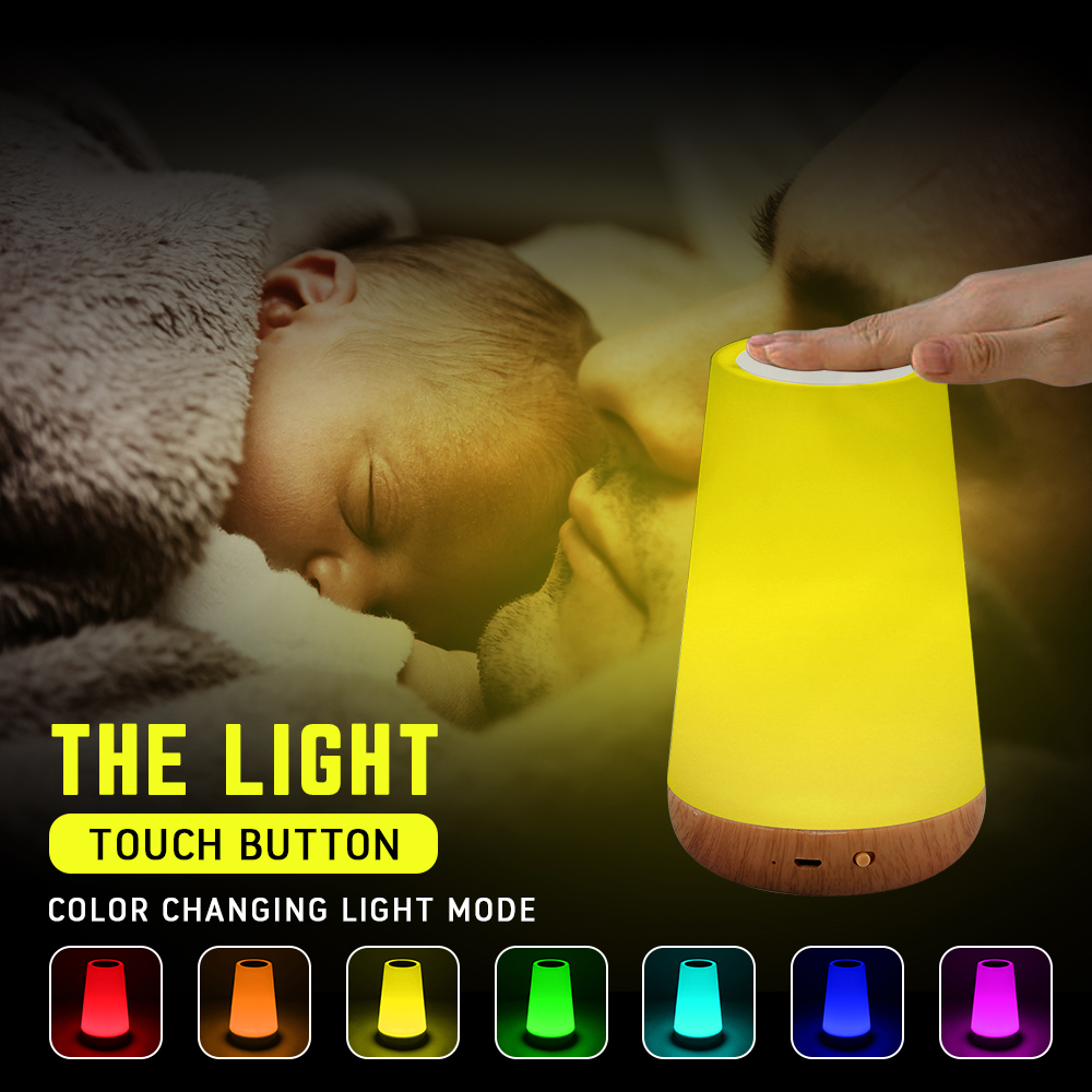 Rechargeable Smart LED Touch Control Night Light Induction Dimmer Intelligent Bedside Lamp Dimmable RGB Color Table Nursing Lamp (White)