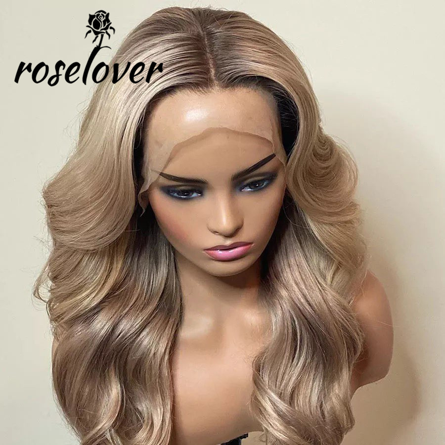 13*6 Lace Front Human Hair Wigs Honey Blonde Wavy Wigs Pre Plucked Wigs For Woman Remy Brazilian Human Hair Wigs For Woman