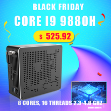 Intel core i9 2020 h 8 cores 16 fios, computador para jogos, 2 * ddr4 2 novo, 9880 * m.2 nvme win10 pro 4k htpc hdmi mini dp