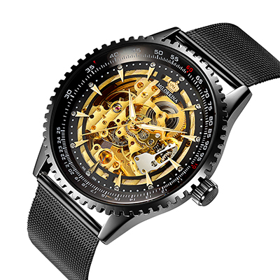 MG. ORKINA MG Men Wristwatches Black Stainless Steel Mesh Band Men's Skeleton Mechanical Watch Automatic Relogio Masculino Mechanical Watches     - title=
