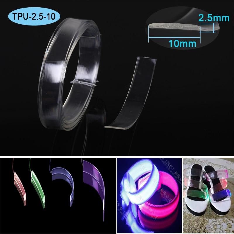 2.5mm Thickness 10mm Width Plastic Side Emit Optical Fiber For Dog Collar Light Up Shoelace