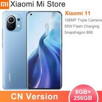 La versión en chino Xiaomi Mi 11 8GB RAM 256GB ROM Smartphone Snapdragon 888 Octa Core 108MP cámara trasera 55W de carga rápida 4600mAh