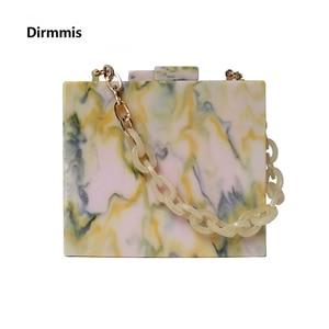 Image 1 - 2019 New Fashion Women Evening Bag Green Yellow Acrylic Chain Handbags Luxury Square Party Wedding Bag Casual Vintage Box Clutch