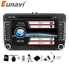 Eunavi 2 DIN 7 นิ้วเครื่องเล่น DVD Player วิทยุสเตอริโอ GPS สำหรับ VW GOLF POLO JETTA TOURAN MK5 MK6 PASSAT b6 บลูทูธ SWC หน้าจอสัมผัส