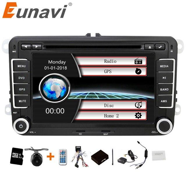 Eunavi 2 din 7 인치 자동차 DVD 플레이어 라디오 스테레오 GPS 폭스 바겐 골프 폴로 제타 TOURAN MK5 MK6 PASSAT B6 블루투스 SWC 터치 스크린