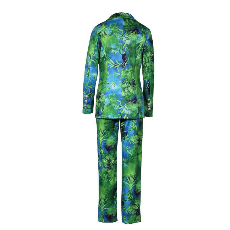 新しいパンツスーツグリーンジャングルプリントブレザー女性ヴィンテージストリート2個セット長袖コートハイウエストズボン2020秋