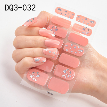 14pcs/sheet Glitter Gradient Color Nail Stickers Nail Wraps Full Cover Nail Polish Sticker DIY Self-Adhesive Nail Art Decoration 48