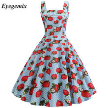 2019 Strawberry Cetak Jubah Femme Vintage Pin Up Wanita Strapless Musim Panas Gaun Kasual Ayunan Vestido Elegan Gaun Pesta(China)