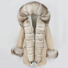 Oftbuy 2021 Mode Winter Jas Vrouwen Echte Bontjas Natuurlijke Real Fox Bontkraag Losse Lange Parka Grote Bont Bovenkleding afneembare