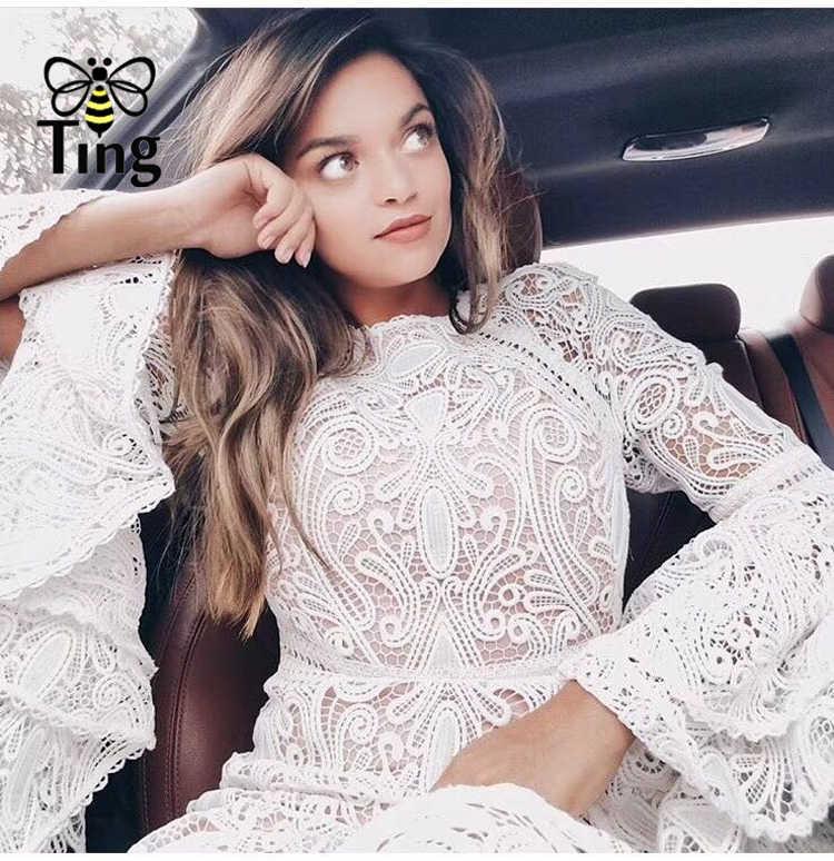 Tingfly กลางอายุเทพธิดา VINTAGE Amazing คุณภาพเย็บปักถักร้อยสีขาว Ruffles หรูหรา Layered Dresses ลูกไม้ Vestidos