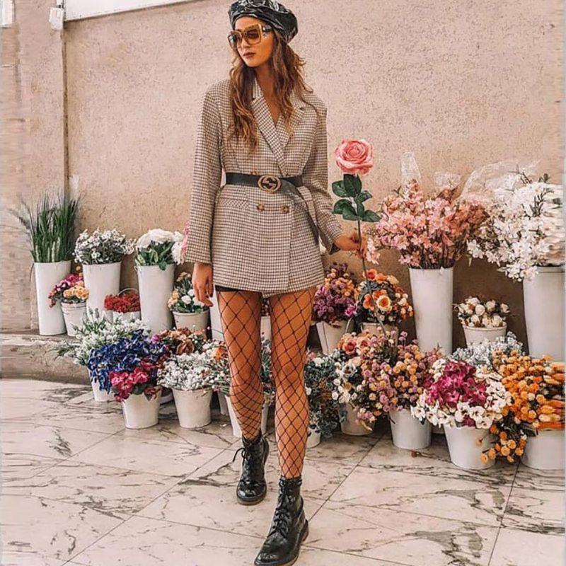 Elegant Plaid Blazer Dress Winter Autumn Women Long Sleeve Oversized Jacket Office Lady Wrap Bodycon Casual Streetwear  K
