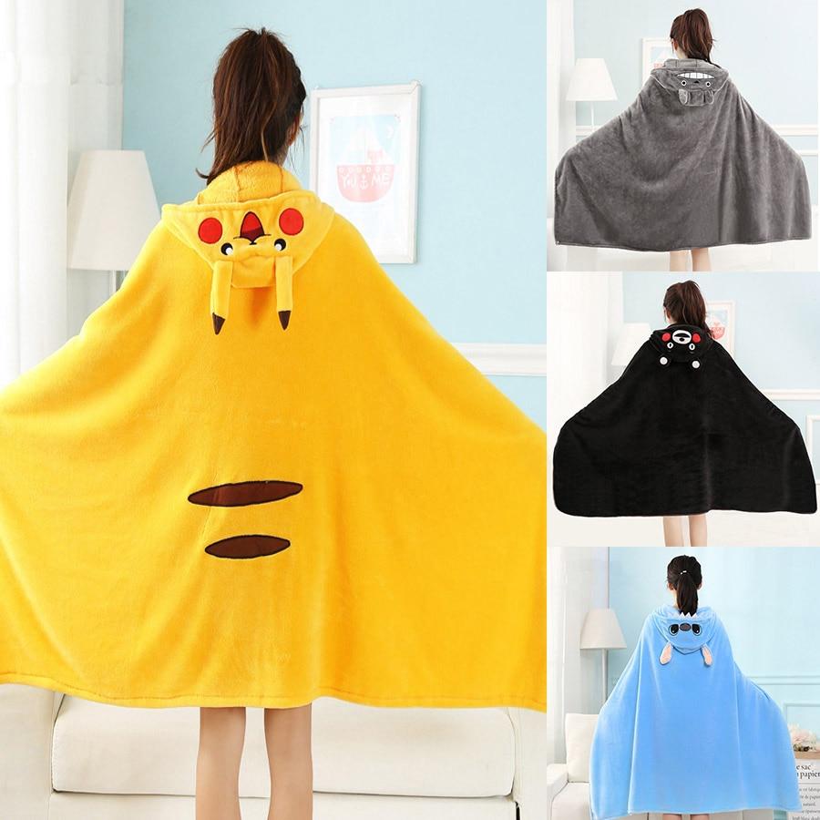 Microfine Blanket Hoodie With Sleeves Cute Pikachu Wearable Soft Totoro Stitch Coral Fleece Throw Blanket Sleeper Lunch Break