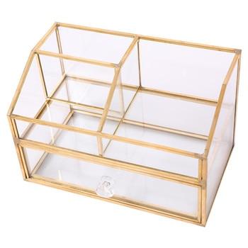 Noble Glass-caja de almacenamiento de cosméticos, productos para el cuidado de la piel, soporte para cepillo de belleza, soporte para esmalte de uñas, organizador de maquillaje