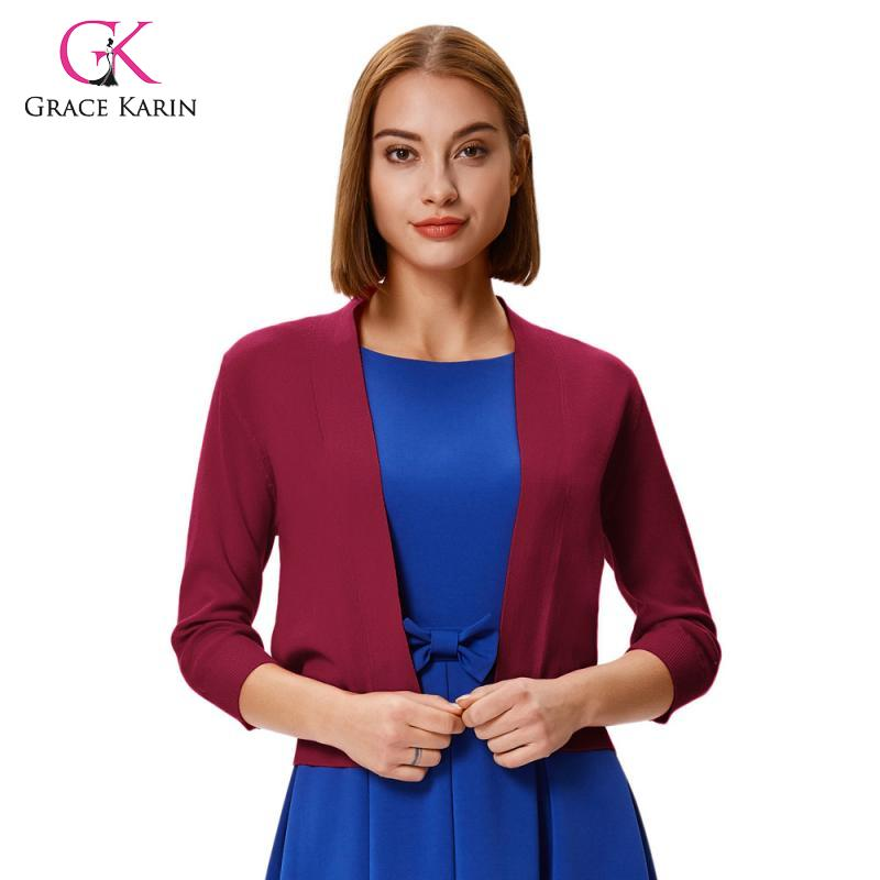 Grace Karin Women's Casual Shrugs 3/4 Sleeve Opening Front Cropped Shrug Cardigan Knitted Short Sweater Coat New Bolero Tops