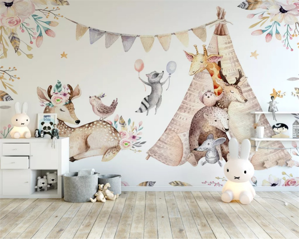 Beibehang Custom 3d Wallpaper Beautiful Original Forest Animal Children's Room Background Wall Painting Wall Papers Home Decor