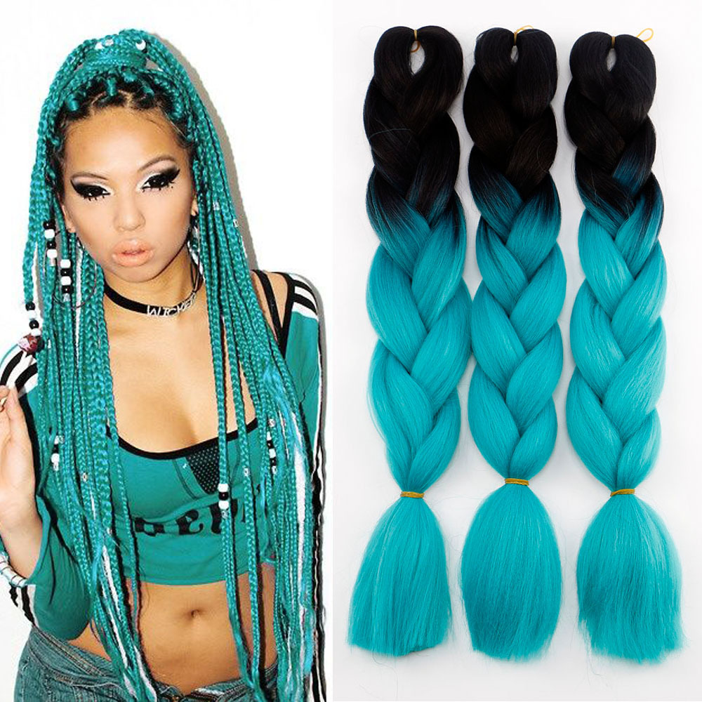 Africa Black Chemical Fiber Braid Hair Europe And America XPression Ultra Braid Black And White With Pattern Gradient Blue-green