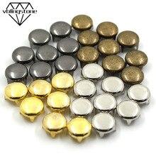 100 шт Круглые штифты, заклепки с четырьмя металлическими гвоздиками заклепки для кожи панк рок-жеребец для одежды, сумок, обуви, браслетов