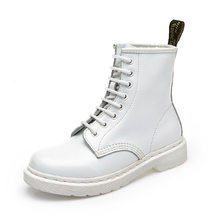 Women Boots Dr boots Full Grain Genuine Leather shoes White High Top Motorcycle Autumn Winter shoe woman snow Boots ST486(China)