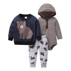 Image 5 - 2019 noworodka dziewczynka chłopiec ubrania zestawy niemowlę dziecko Romper polar i bawełna topy płaszcz + Romper + spodnie 3 sztuk kombinezon zestaw ubrań