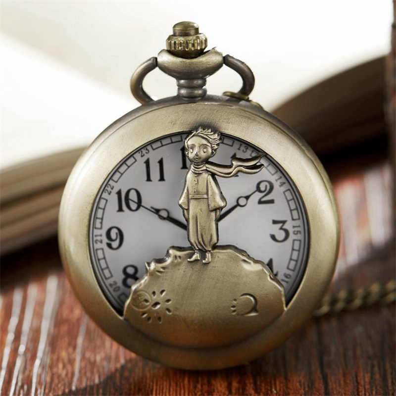 Vintage Bronze Retro The Little Prince Mens Quartz Pocket Watch With Pendent Necklace Fob Watch Boy Children Clock Gift Relogio