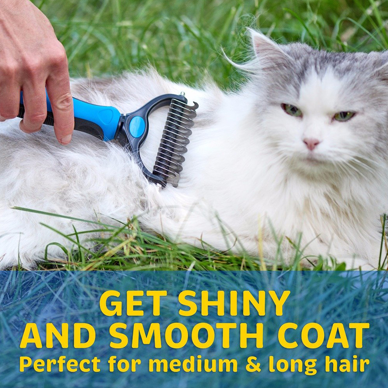 Petsasa Pet Hair Removal Detangler Comb for Dogs Cat Double sided Brush