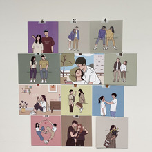 Decorative-Card Wall-Stickers Photo-Props Diy Ins 12-Sheets Couple Warm Sweet Illustration