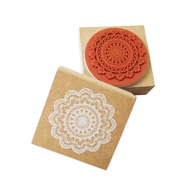 1pcs/lot 4.5X4.5cm Round And Square Lace Wood Scrapbooking Stationery Invitations Wax Seal Stamp