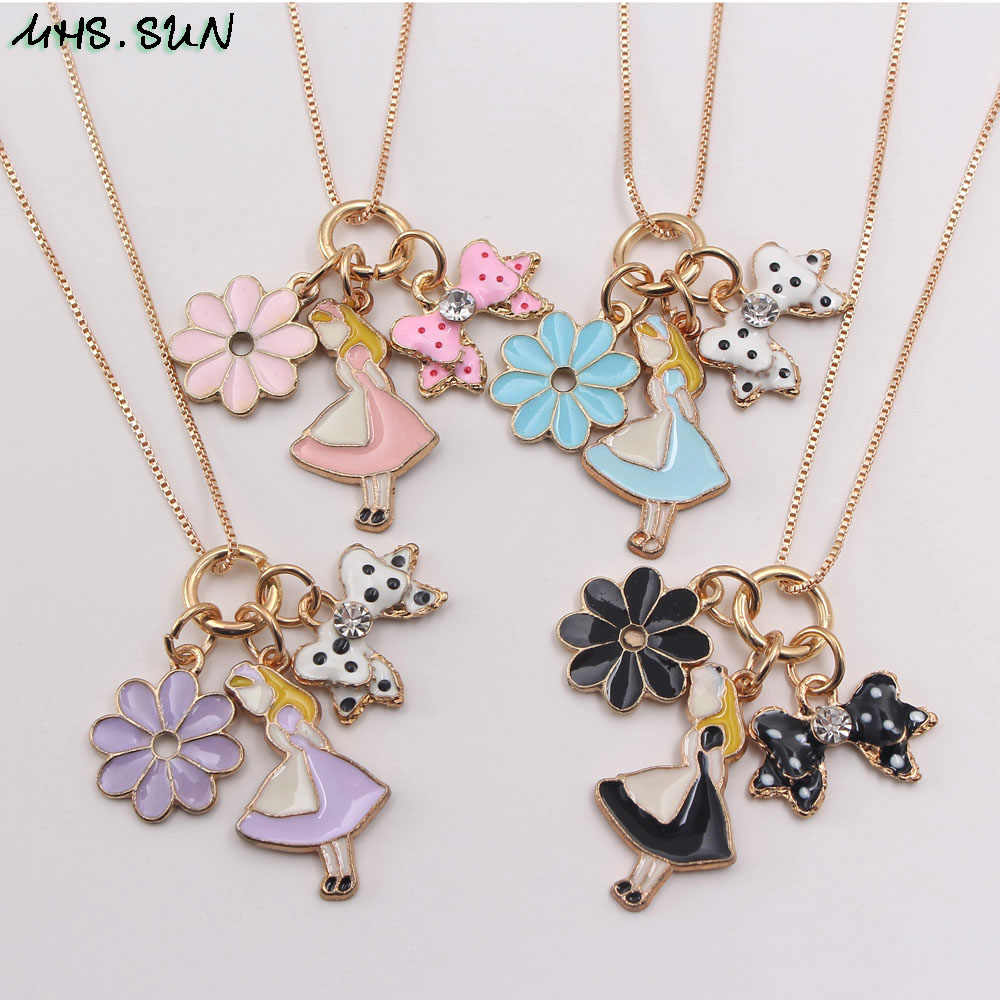 MHS.SUN New Kids Girls Long Chain Necklace With Cute Maid Flower Pendants  Children Necklace Party Jewelry 1Pcs|Chain Necklaces| - AliExpress