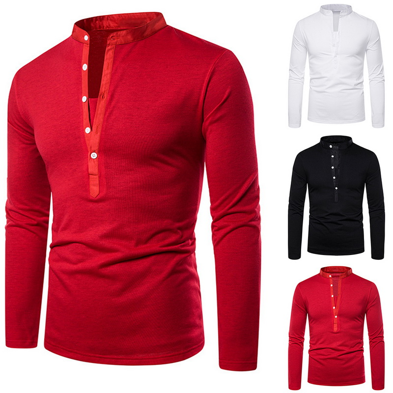 Tops Tee-Shirt Casual-Collar Blouese Long-Sleeve Brands-Plus Silm Autumn Hot-Sale Men