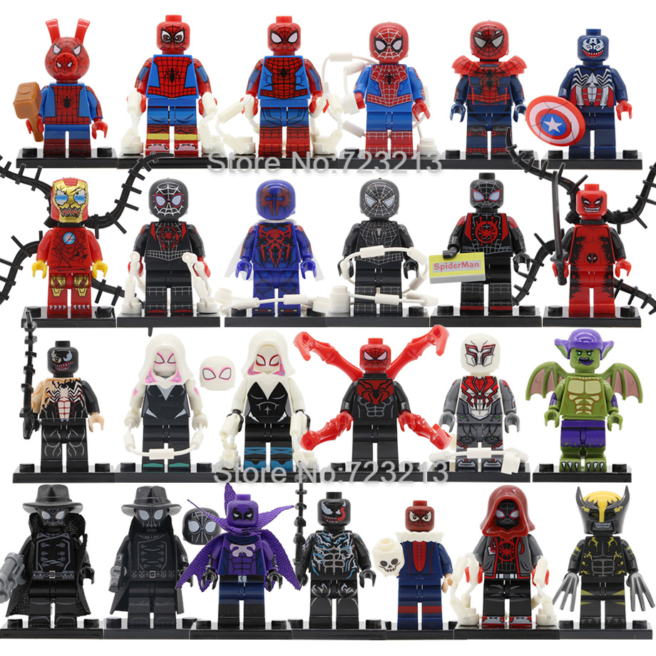 8pcs Marvel Super Hero Spider Man Figure Set Miles Morales Prowler Shadow Gwen Iron Spider-Man Building Blocks Toys Legoing