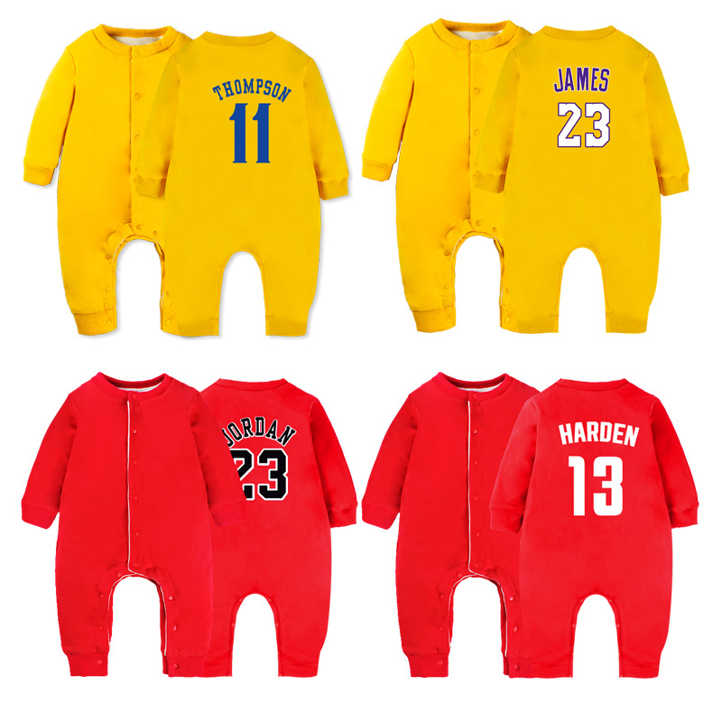 Clothes For Babies Autumn And Winter 0-12 Month Cardigan Plus Velvet 0-1-Year-Old NBA Onesie