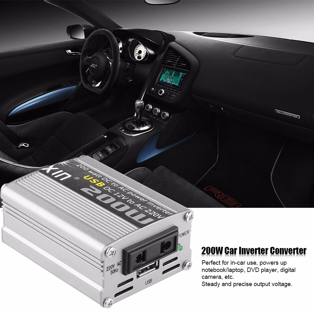200W Car Power Inverter Converter Modified Sine Wave Power Supply with USB DC 12V to AC 220V