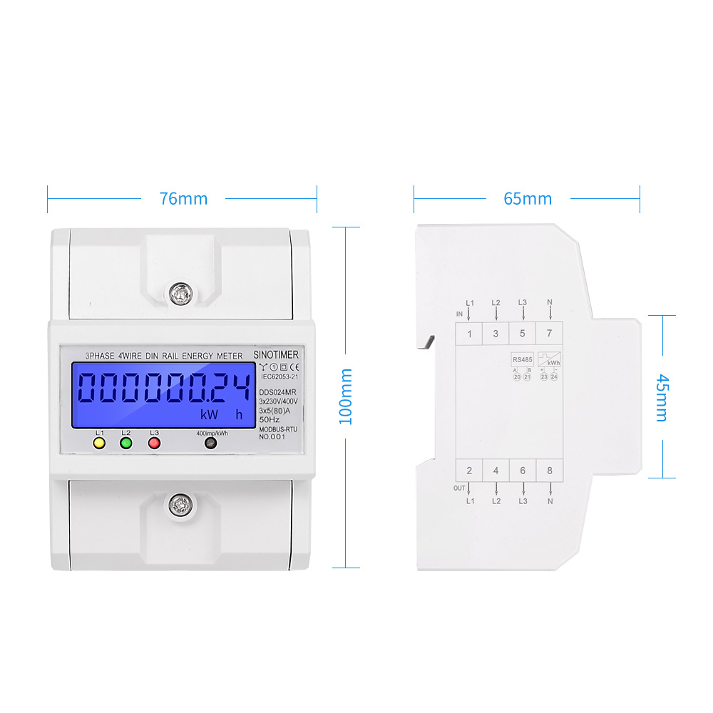 Tools : Multifunctional RS485 Modbus 3 Phase 4 Wire Electronic Wattmeter Power Consumption Energy Meter 5-80A 380V AC 50Hz Backlight