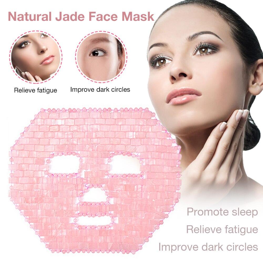 Quartz Jade Face Mask Cold Therapy Facial Mask Natural Amethyst Jade Sleeping Masks Face Cooling Massager Facial Mask Tool 35p