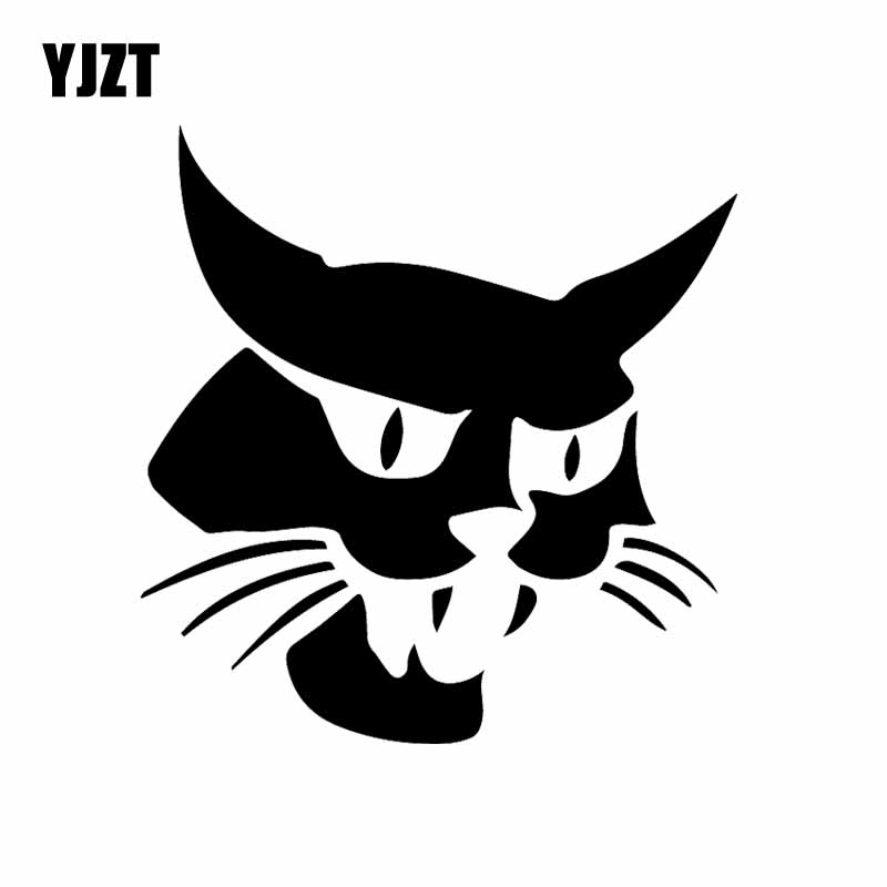 YJZT 15X15.5CM Funny Bobcat Car Window Vinyl Decal Mascot Graphic Car Sticker Decor Black/Silver C24-1764