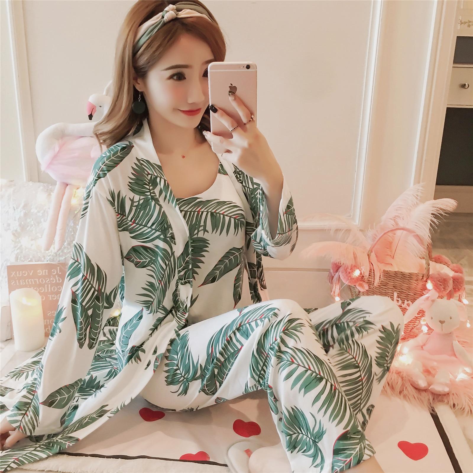 Autumn & Winter Plus-sized Three-piece Set Women's Robes Spaghetti Strap Pajamas Ladies Home Leisure Suit Qmilch Pajamas