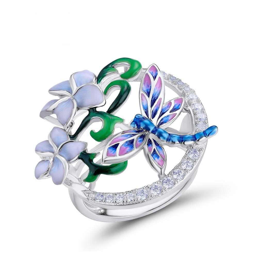 ใหม่แฟชั่นเครื่องประดับที่ละเอียดอ่อน Silver Zircon แหวนผู้หญิงสีสันสดใส Handmade Enamel DRAGONFLY ดอกไม้แหวน