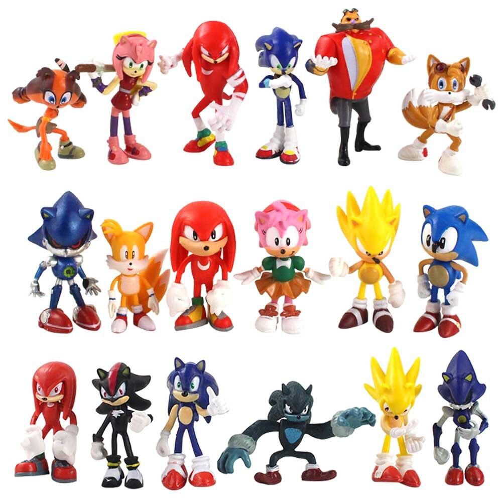 Экшн-фигурка аниме Sonic Shadow Boom, Коллекционная модель редких Dr Eggman Tails, игрушка в подарок для детей, 5-8 см, 18 шт./лот