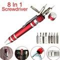 Многофункциональный 8 в 1, карманные прецизионные мини ручка-отвертка для ремонта ручных инструментов набор 13*110 мм