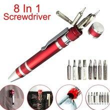 Multifunction 8 em 1 bolso precisão mini chave de fenda caneta reparação ferramentas manuais kit 13*110mm