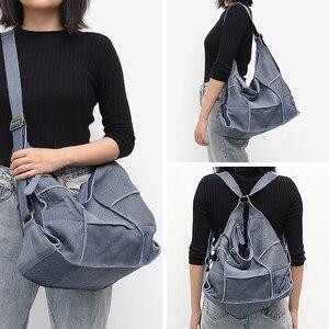 Image 2 - SC sac à main Vintage en cuir véritable pour femmes, grands sacoches décontracté rétro pour filles, Patchwork fait à la main