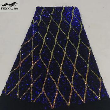 Madison African Sequin Velvet Net Lace Fabric Embroidered Nigerian Lace Fabrics For Wedding 2020 High Quality French Lace Fabric