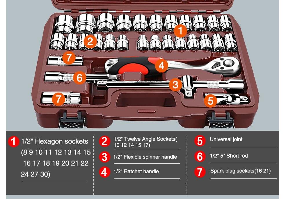 AI-ROAD Household Multifunction Car Repair Tool Kit Home 32 set part 2