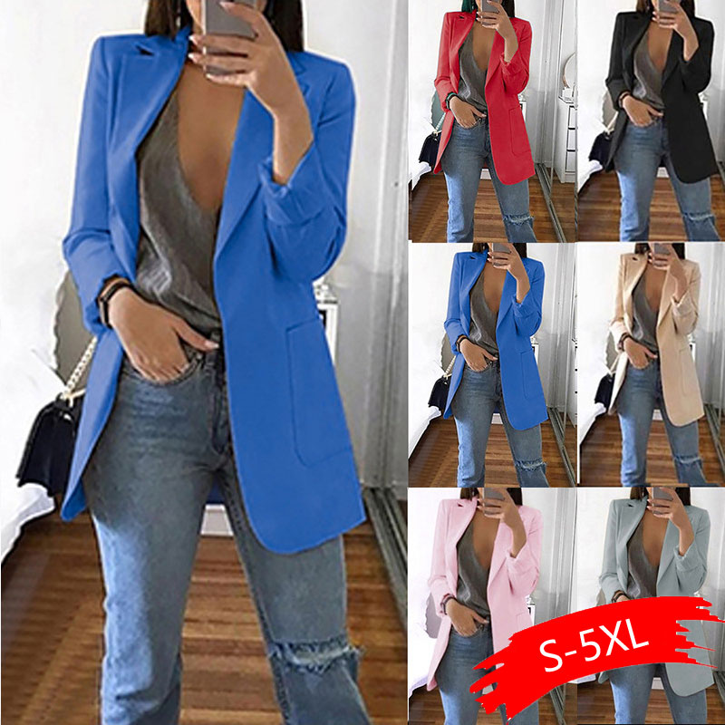 Plus Size 5XL Slim Blazer Women 2020 Autumn Casual Female Office Lady Suit Solid Turn-down Collar Coat Tops Blazer Feminino